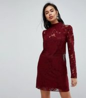 photo Lace Mini Shift Dress by ASOS ULTIMATE, color Oxblood - Image 1