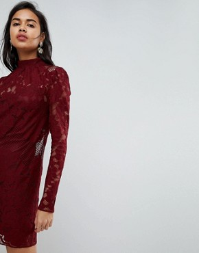photo Lace Mini Shift Dress by ASOS ULTIMATE, color Oxblood - Image 3