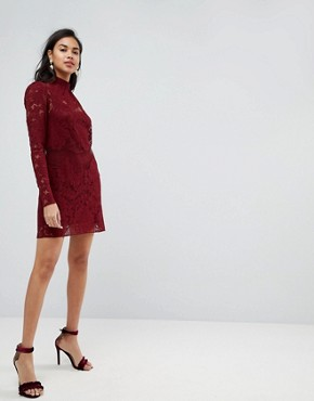 photo Lace Mini Shift Dress by ASOS ULTIMATE, color Oxblood - Image 4