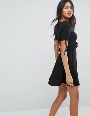 photo 40s Mini Tea Dress with Ruffle Detail by ASOS, color Black - Image 2