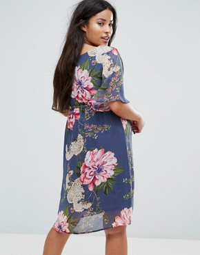 photo Floral Printed Woven Tea Dress by Mama.licious, color Multi - Image 2