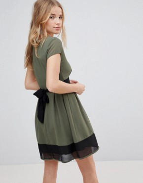 photo Skater Dress with Stripe Waistband and Trim by Wal G, color Khaki/Black - Image 2