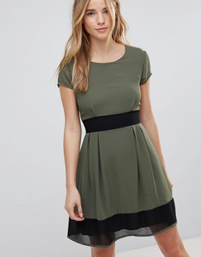 photo Skater Dress with Stripe Waistband and Trim by Wal G, color Khaki/Black - Image 1