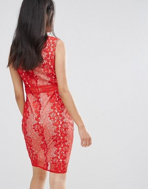 photo Red Lace Bodycon Dress by AX Paris, color Red - Image 2