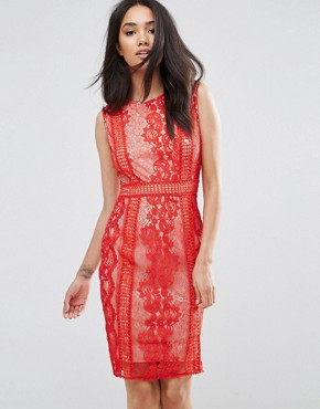 photo Red Lace Bodycon Dress by AX Paris, color Red - Image 1