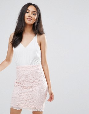 photo Cream 2 in 1 Crochet Skirt Mini Dress by AX Paris, color Cream/Pink - Image 1