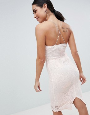 photo Contrast Pink Lace Bodycon Dress with Plunge Front by AX Paris, color Cream/Pink - Image 2