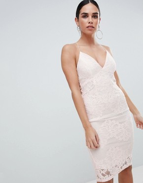 photo Contrast Pink Lace Bodycon Dress with Plunge Front by AX Paris, color Cream/Pink - Image 1