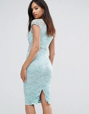 photo V-Neck Mesh Lace Bodycon Midi Dress by AX Paris, color Green - Image 2