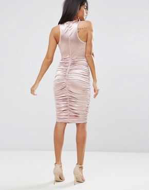 photo Slinky Pink Ruched Dress with a Cross Over Cut Out Front by AX Paris, color Pink - Image 2