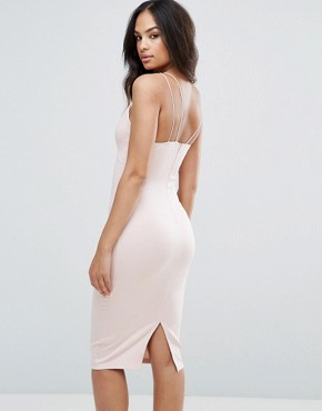 photo Harness Detail Plunge Bodycon Midi Dress by AX Paris, color Blush - Image 2