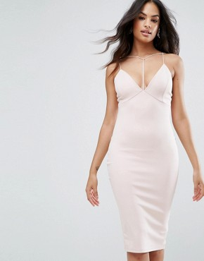 photo Harness Detail Plunge Bodycon Midi Dress by AX Paris, color Blush - Image 1
