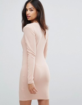 photo Blush Bodycon Ruched Dress by AX Paris, color Pink - Image 2