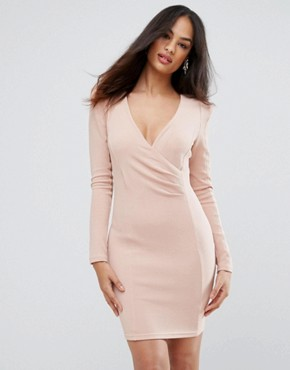 photo Blush Bodycon Ruched Dress by AX Paris, color Pink - Image 1