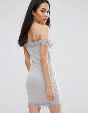 photo Grey Bardot Mini Dress with Lace Detail by AX Paris, color Grey - Image 2
