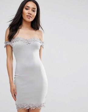 photo Grey Bardot Mini Dress with Lace Detail by AX Paris, color Grey - Image 1