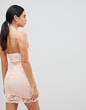 photo Blush Floral Mesh Embroidered Bodycon Dress by AX Paris, color Blush - Image 2
