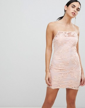 photo Blush Floral Mesh Embroidered Bodycon Dress by AX Paris, color Blush - Image 1