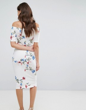 photo Cream T-Bar Floral Printed Midi Dress by AX Paris, color Cream - Image 2