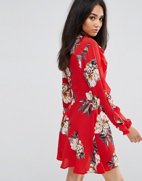 photo Red Floral Skater Dress with Frill Detail by AX Paris, color Red - Image 2