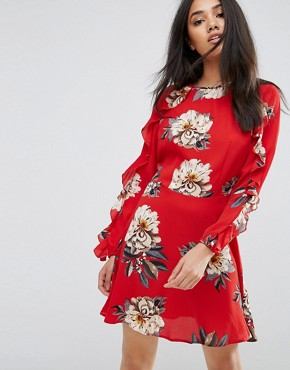 photo Red Floral Skater Dress with Frill Detail by AX Paris, color Red - Image 1