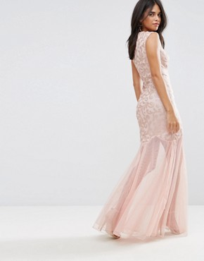 photo Blush Sequin Bodice Chiffon Maxi Dress by AX Paris, color Blush - Image 2
