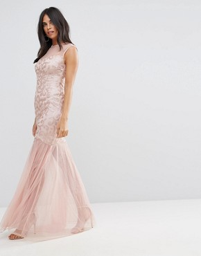 photo Blush Sequin Bodice Chiffon Maxi Dress by AX Paris, color Blush - Image 1