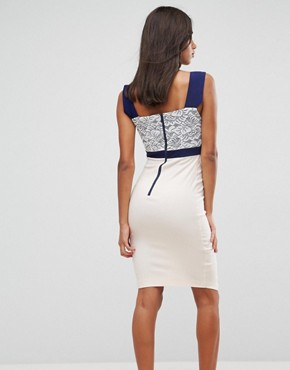 photo 2 in 1 Lace Detail Midi Pencil Dress by Vesper, color Multi - Image 2