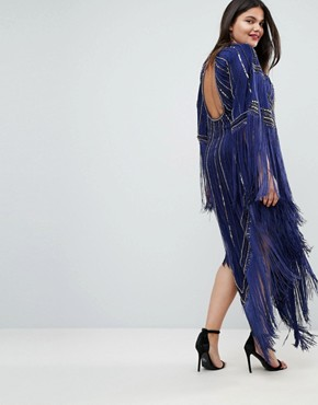 photo Kimono Midi Dress with Tassels by A Star Is Born Plus, color Navy/Gold - Image 2