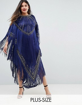photo Kimono Midi Dress with Tassels by A Star Is Born Plus, color Navy/Gold - Image 1