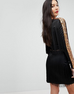 photo Mini Dress in Jersey with Embellished Studs and Fringing by A Star Is Born Tall, color Black - Image 2