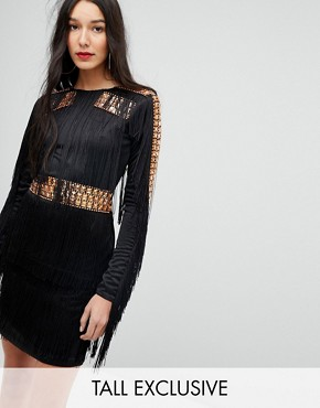 photo Mini Dress in Jersey with Embellished Studs and Fringing by A Star Is Born Tall, color Black - Image 1