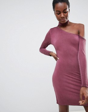 photo Olivia Choker Neck One Sleeved Bodycon Dress by NYTT, color Merlot - Image 1