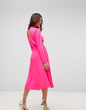 photo Cut Out Midi Dress by ASOS, color Neon Pink - Image 2