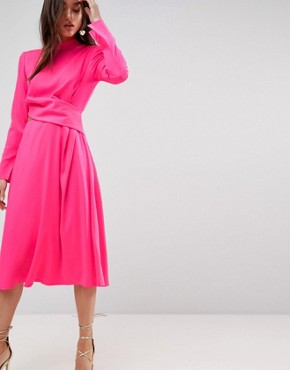 photo Cut Out Midi Dress by ASOS, color Neon Pink - Image 1