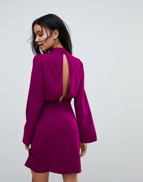 photo 80s High Neck Mini Dress with Belt by ASOS, color Purple - Image 2