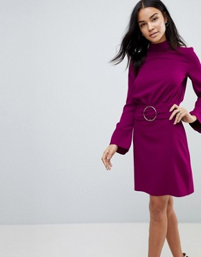 photo 80s High Neck Mini Dress with Belt by ASOS, color Purple - Image 1