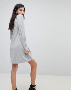 photo Print Front T-Shirt Dress by Kubban, color Grey - Image 2