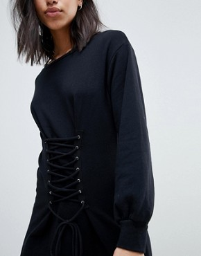 photo Riley Corset Sweater Dress by NYTT, color Black - Image 3