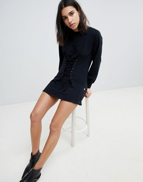 photo Riley Corset Sweater Dress by NYTT, color Black - Image 1