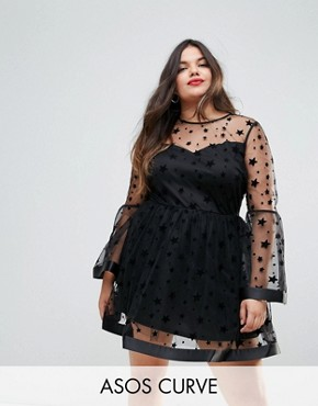 photo Star Mesh Fluted Sleeve Mini Skater Dress by ASOS CURVE, color Black - Image 1