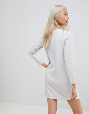 photo Asymmetric Clean Shift Mini Dress by ASOS, color Grey - Image 2