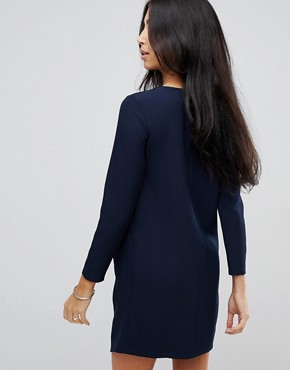 photo Asymmetric Clean Shift Mini Dress by ASOS, color Navy - Image 2