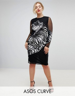 photo Embellished Tiger Mesh Bodycon Midi Dress by ASOS CURVE, color Black - Image 1