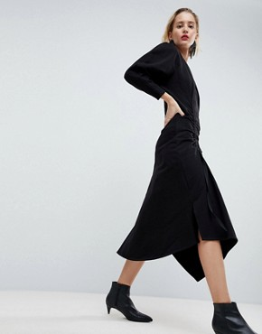 photo Ruched Sweat Dress with Shoulder Pads by ASOS WHITE, color Black - Image 2