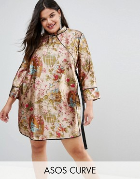 photo Chinoiserie Mini Wrap Dress with Tipping by ASOS CURVE, color Multi - Image 1