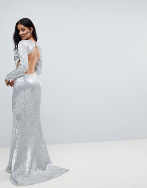 photo Long Sleeve Sequin Backless Maxi Dress by Club L, color Silver - Image 2