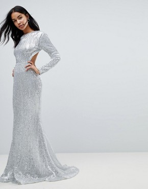 photo Long Sleeve Sequin Backless Maxi Dress by Club L, color Silver - Image 1
