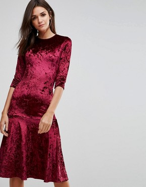 photo Crushed Velvet Peplum Hem Midi Dress by Club L, color Berry Crushed - Image 1