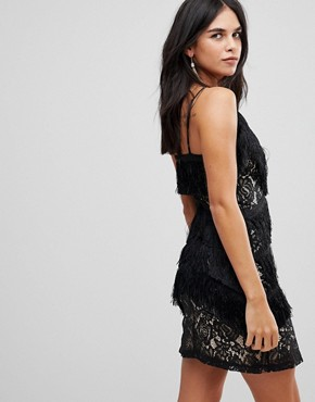 photo Cami Tassel Lace Mini Dress by Club L, color Black - Image 2